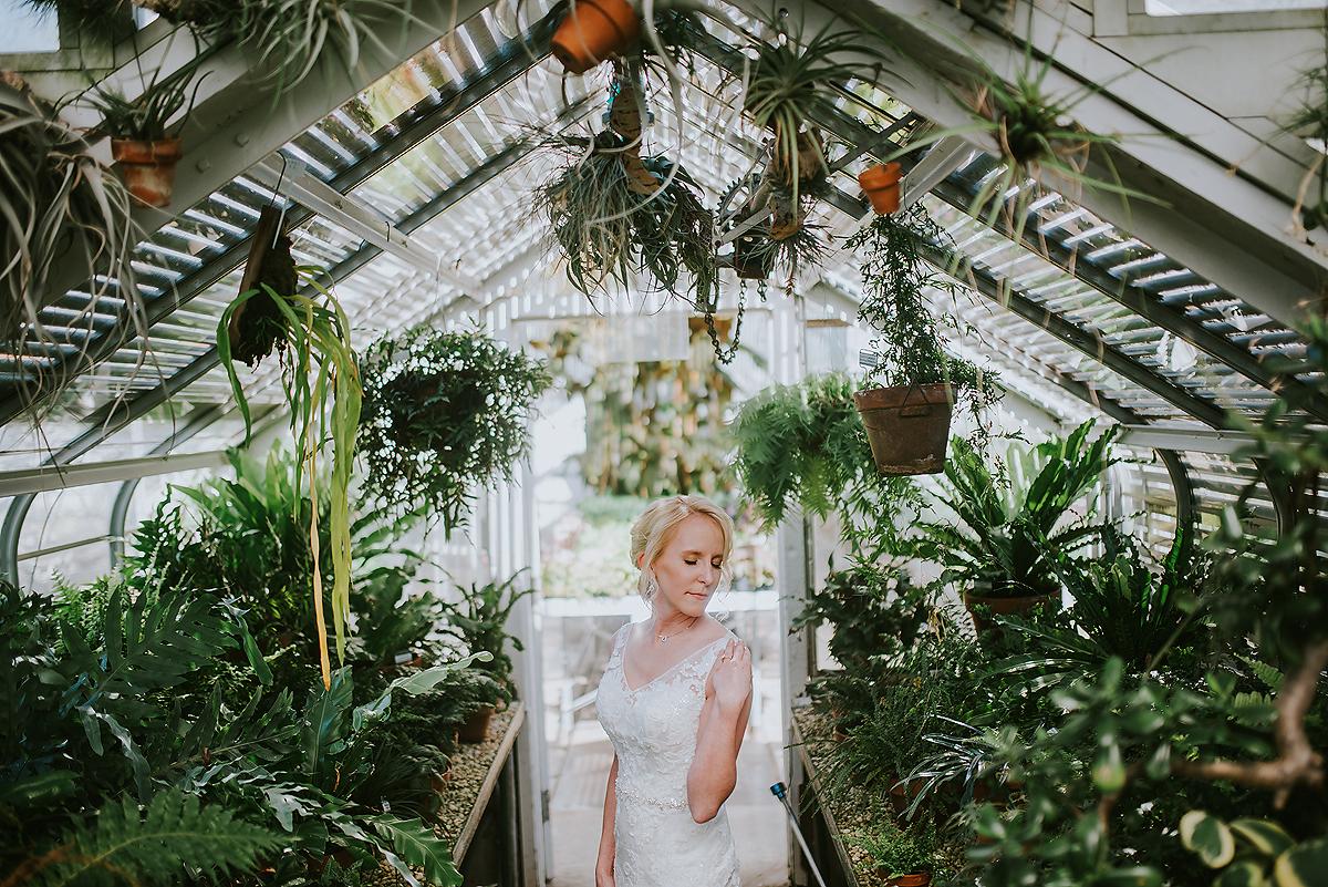 bridal portrait in greenhouse